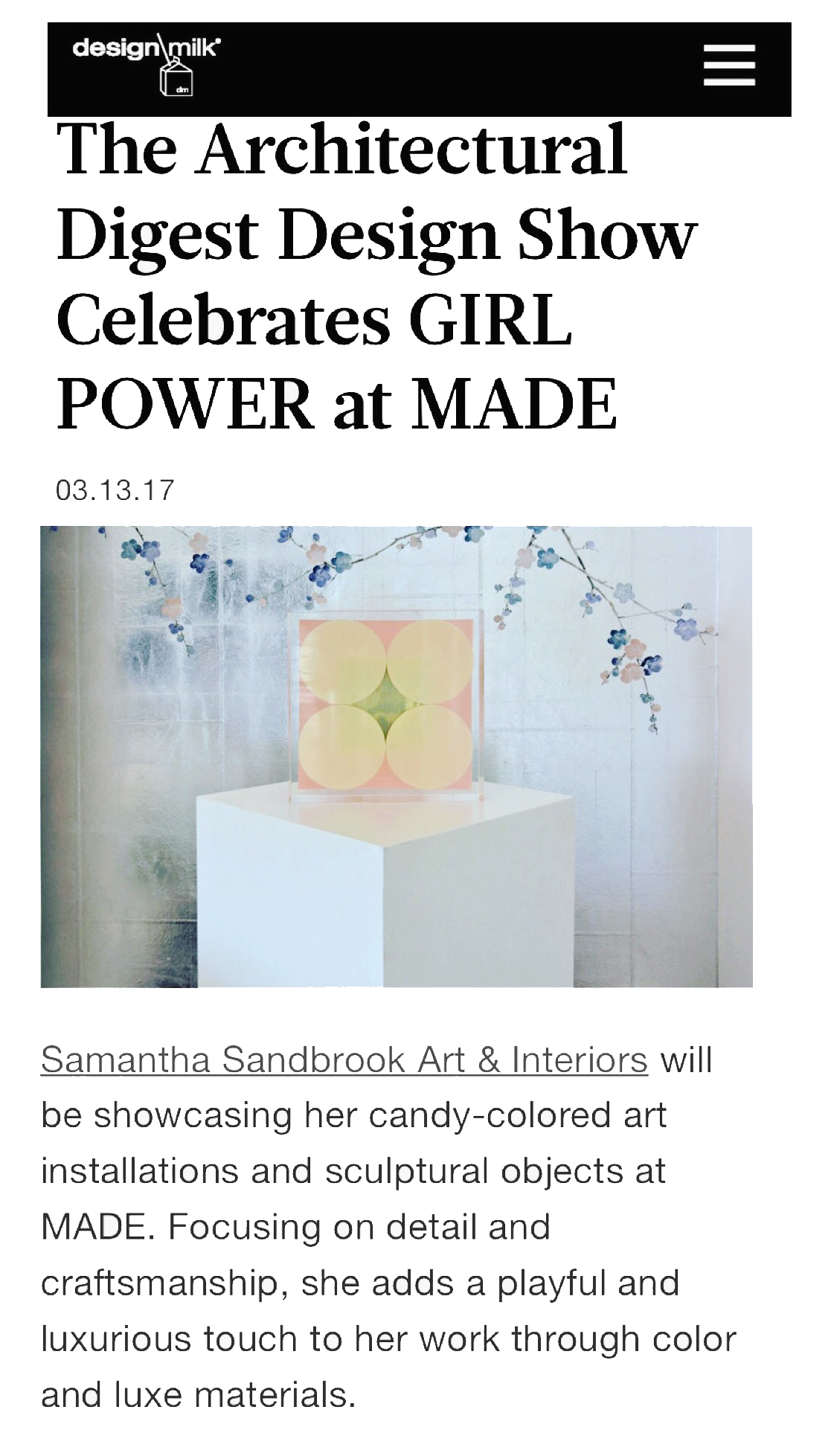 Design Milk, The Architectural Digest Design Show Celebrates GIRL POWER at MADE, NYC