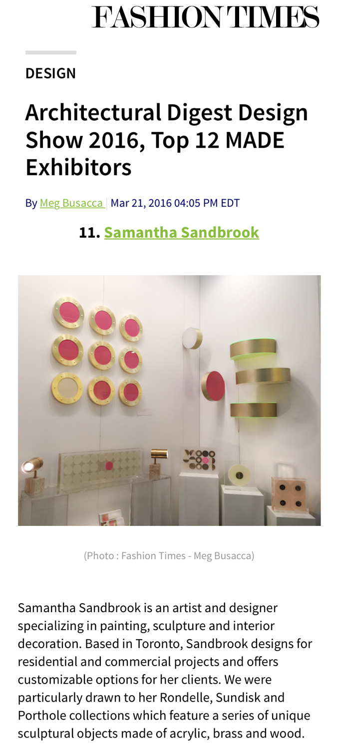 Fashion Times, Architectural Digest Design Show 2016, Top 12 MADE Exhibitors