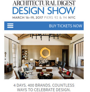 Architectural Digest Design Show March 16-18 New York